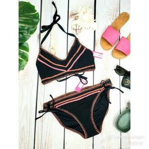 String Bikini D/DD Top  XL Bottoms Black/Pink NWT